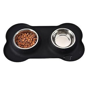 Chien Tapis de gamelle en silicone de qualité alimentaire étanche Set de table Chat antidérapant et lavable Grande par 7-deer