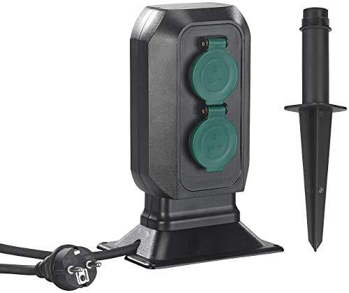 Royal Gardineer 4-fach-Gartensteckdose: Spritzwassergeschützte 4-fach-Steckdosen-Säule für den Garten, IP44 (Strom-Steckdose Garten)