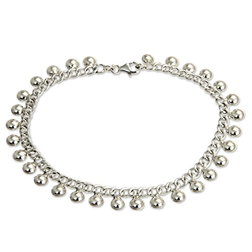 NOVICA .925 Sterling Silver Handmade Chain Charm Anklet 'Palace Charms', 10.5'