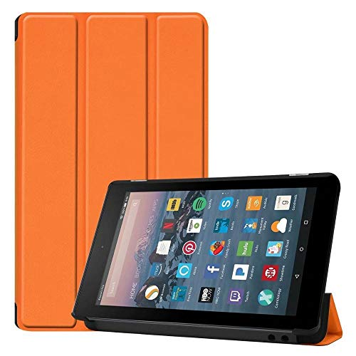 QiuKui Tab Funda para Kindle Fire 7 '' 2017 2019, Dibujos Animados Slim Case Stand PU Smart Flip Cover para Kindle Fire 7 2017 2019 (Color : Orange)