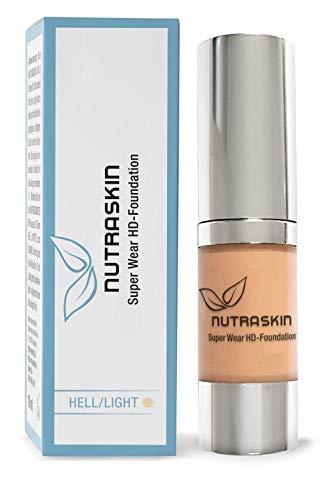 NUTRASKIN Super Wear HD Foundation, lang anhaltendes & wasserfestes Make-up, 15ml (Hell/Light)