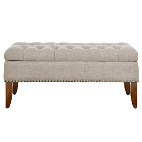 Pulaski Beige Hinged Top Button Tufted Storage Bed Bench Accent Seating, Brown