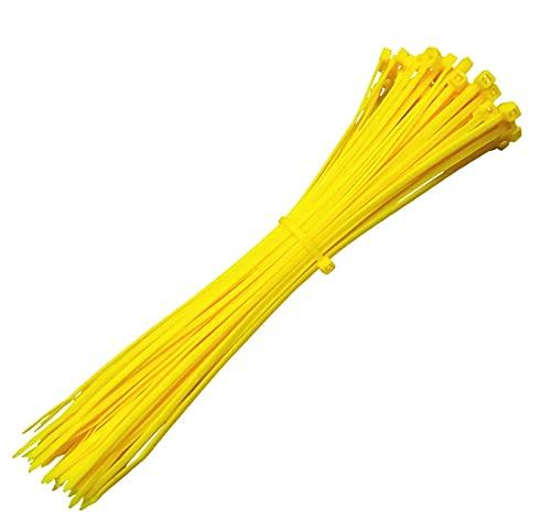 Sujetadores de cables de nailon con autobloqueo Sujetador de plástico con cremallera Correas de sujeción de alambre Sujetadores de suministro industrial hardware1000PCS Amarillo 100 mm * 3 mm