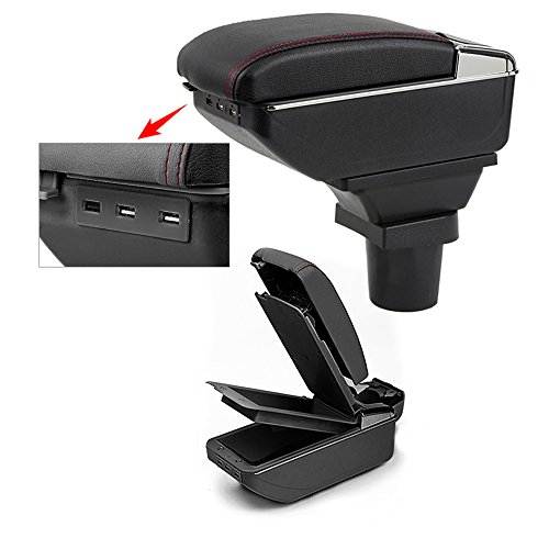 8X-SPEED for Yaris Top Car Armrest Center Console Accessories Arm Rest Charging Function with 7 USB Ports Double-Space Black