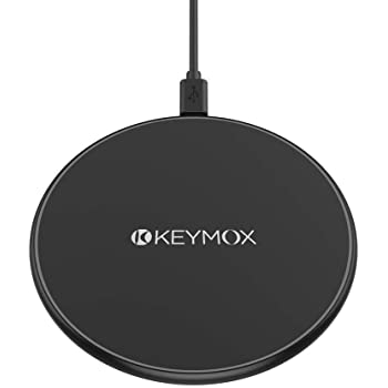 Wireless Charger, KEYMOX Qi-Certified for iPhone 12/12 Mini/12 Pro Max/SE, 11, 11 Pro, 11 Pro Max, XR, Xs Max, XS, X, 8, 8 Plus, 10W Fast-Charging Galaxy S20 S10 S9 S8, Note 10 Note 9(No AC Adapter)