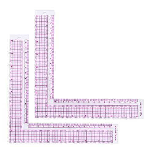 Y-POWER 2 reglas de plástico en forma de L para corte de ropa, para costura, sastre, dibujo, bricolaje, patchwork, herramientas