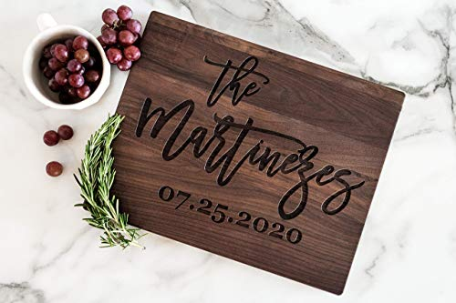 """Personalized Cutting Board. 11"""" x 14"""" 9 Engraving Options. 3 Wood Types. Custom Wedding Gift For Newlyweds"""