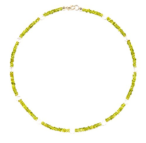 Peridot Schmuck (Halskette) Peridot Kette mit Bergkristall Verschluss 925er Sterling-Silber Modellnummer 6006