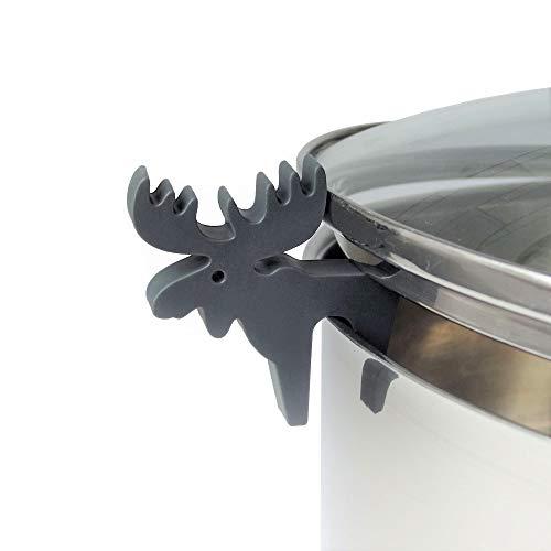 Topfdeckelhalter Elch Grau Silikon I Zubehör für Kochtopf, Pfannen-Deckel und Kochgeschirr I Kleine, Lustige, Küchenhelfer I Topfwächter Elch I Farbe Grau