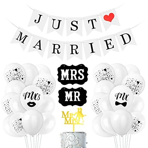 Just Married Hochzeit Deko Set, Just Married Balloon, Just Married Deko, Just Married Luftballons Hochzeitsdeko Weiß Girlande Banner, für Heiratsantrag Hochzeit Fest Party Dekoration