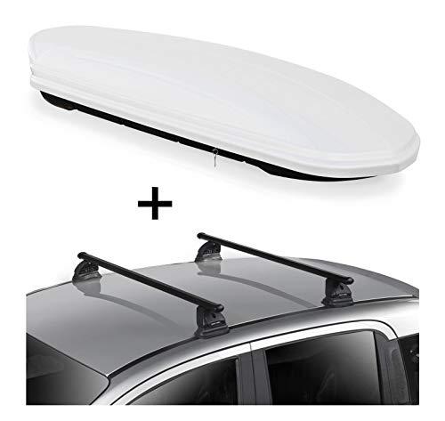 Dachbox VDPMAA460 460 Liter weiß abschließbar + Dachträger VDP EVO Stahl kompatibel mit Mercedes CLA Shooting Brake (X117) 5 Türer 2015-2019