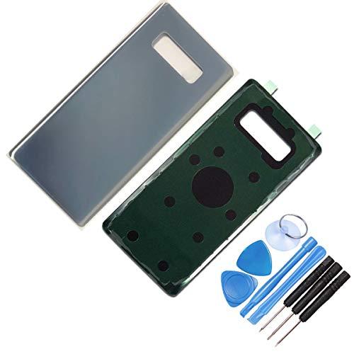 DE TECH DOCTOR vervangende glazen achterkant behuizing voor Samsung Note 8 - Compleet met gereedschap en lijm - Professionele reparatiekit (zwart), ZILVER