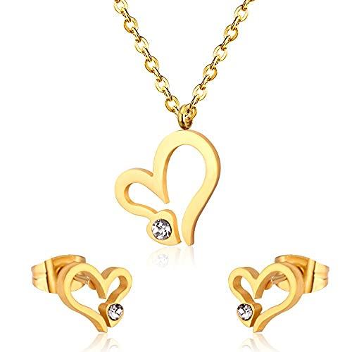 HMANE Joyas Conjuntos de Joyas de Acero Inoxidable Collar de corazón Pendientes Mujeres Boda Nupcial Africana Conjunto de Joyas de Dubai