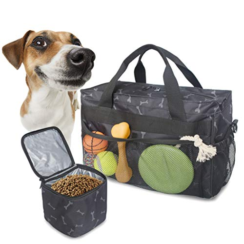 MYDAYS Dog Travel Bag, Pet Luggage Suitcase Weekend Tote Carrier with Collapsible Bowl, Pet Luggage Suitcase Weekend Tote Carrier with Collapsible Bowl (Black)
