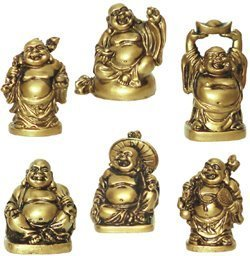 M.V. Trading Happy Laughing Figurine Buddha Statue, Set of 6, 2 Inches, Bonze