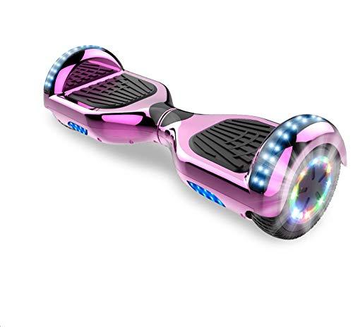 Self-Balancing Scooter, Hoverboard Elektro Scooter 6,5zoll Scooter hoverboard kinder Bluetooth Scooter mit bunten Lichter Bluetooth eingebaute Geschenk für (Rose)
