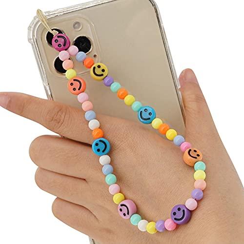 Handschlaufe für Handy, Anti-Verlorene Handykette Straps Vintage Neue Acryl Lächeln Stern Perlen Kette Bunte Perlen Strap für Mobile Phone Lanyard Wrist Strap Schmuck Hängen Chian für Frauen