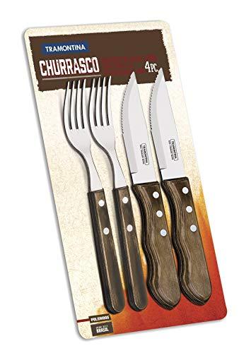 Tramontina 29899/163 Jumbo Steakbesteck, 4 teiliges Set, Edelstahl AISI 420, Kiefernholz