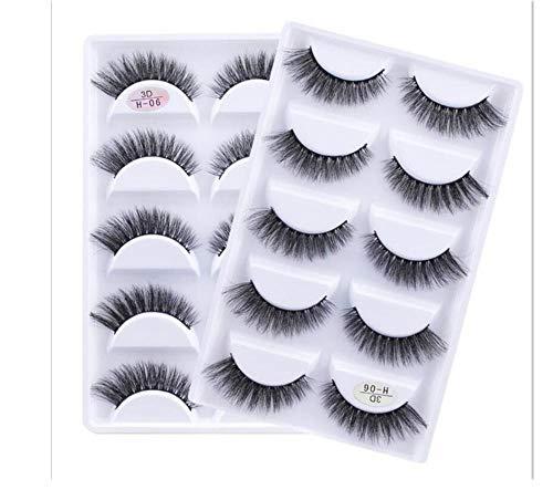 ZZDJ Faux Cils Maquillage 5 Paires de Cils 3D Faits à la Main Courts Faux Cils Cross Messy Dense Natural Eye Lashes Stage Makeup False Eyelashes A