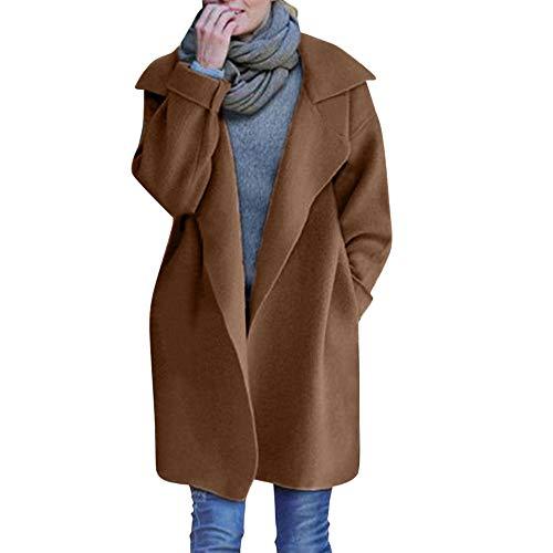 Mantel Kolylong Damen Elegant Revers Strickjacke Lang Herbst Winter Warm Gestrickt Mantel Leicht Windjacke mit Reverskragen Zweireiher Parka Outwear Trenchcoat Wollmantel Tops (One Size, Kaffee)