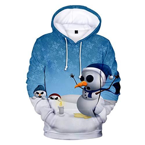 KPILP Unisex 3D Druck Hoodie Weihnachtspullover Sweatshirt Langarm Christmas Sweatshirt Kapuzenpullover Geschenk Pulli Bluse Tops für Herren und Damen
