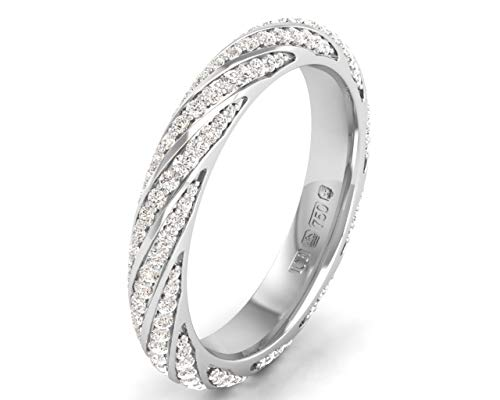0.60ct Pave Set Round Brilliant Cut Diamonds Full Eternity Ring in 9K White Gold (N)