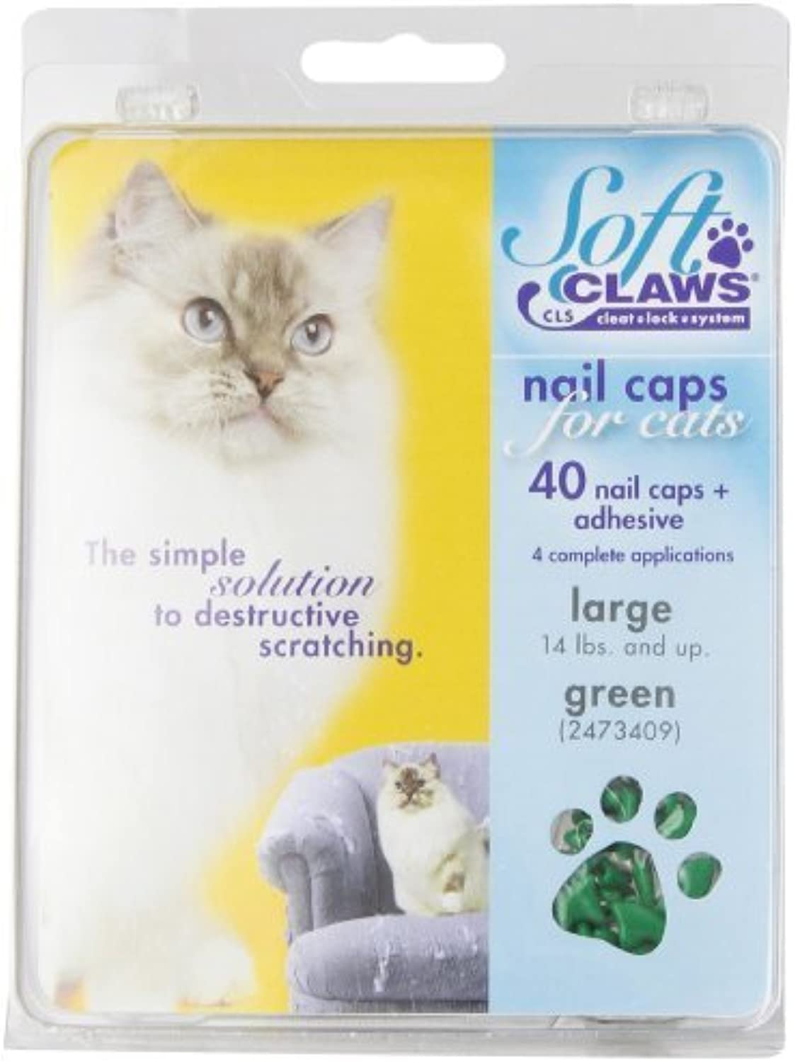 Feline Soft Claws Cat Nail Caps TakeHome Kit, Large, Green by Soft Claws