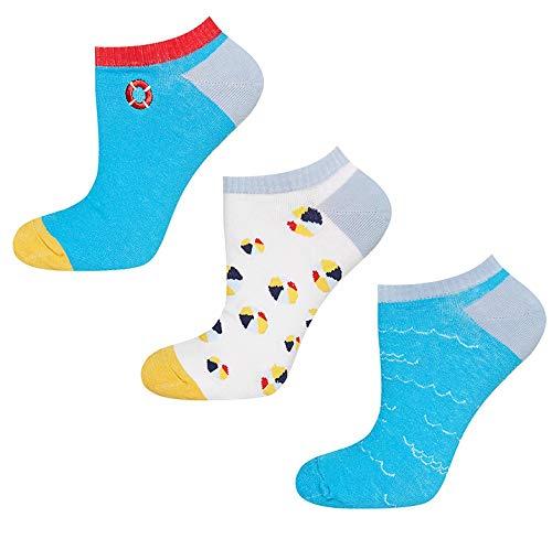 soxo 3 Paar Damen Sneaker Socken | Kurze Socken für Frauen mit Lustigen Mustern | Größen 35-40 (Strand)