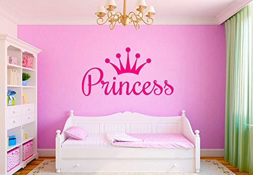 Princess Queen Crown DIY Wall Sticker Art Decals for Kids Room Decor Personalized Girl Name Vinyl Murals Stickers A927