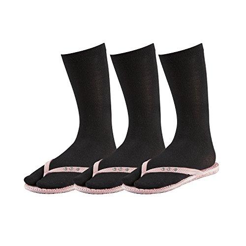 TippTexx24 3 Paar Zwei-Zehen-Socken, Samurai-Socken, Tabi Socken (One Size, schwarz)