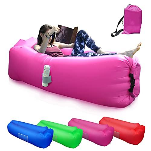 Sofá Hinchable, Tumbona Hinchable Sofá Inflable Portátil, Cómoda Cama Inflable con Almohadas, para Camping, Vacaciones, Senderismo(Púrpura)