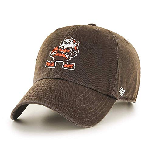 '47 NFL Legacy Throwback Clean Up Adjustable Hat, One Size Fits All (Cleveland Browns Brown)
