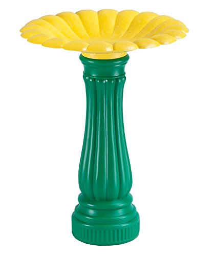 Miles Kimball Daisy Bird Bath, One Size Fits All All, Green and Yellow