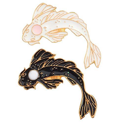 ACAMPTAR 2 StüCke Yin-Yang Fisch Brosche Abzeichen Emaille Pin Schwarz Wei? Rosa Karpfen Koi Broschen Abzeichen Japanische Fisch Schmuck KostüM Nette Brosche Xz1321 / Xz1323