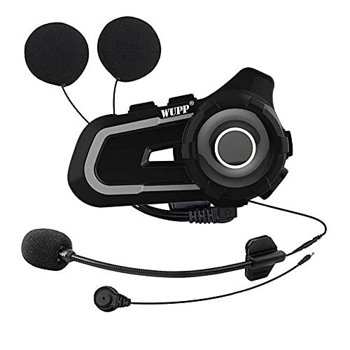 Intercomunicador Bluetooth de 1000 m, Auriculares para Casco de Motocicleta para Rider BT, Walkie Talkie inalámbrico, interfono estéreo para Moto, MP3, Radio FM (Naranja)