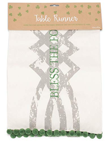 Grasslands Road Bless The Food Celtic Table Runner - Table Runner - Irish Home Décor - St Patricks Day Decorations,Fabric,72 by 13 Inches, Packaging
