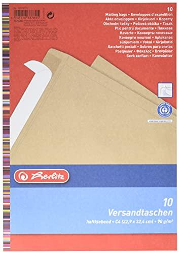 Herlitz Versandtasche C4 90 g Haftklebend, Recyclingpapier, blauer Engel, 10-er Packung, eingeschweißt, braun