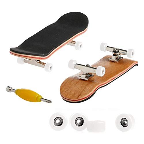 XOYZUU Mini diapasón profesional, monopatín de dedo de madera de arce DIY Asamblea Skate Boarding Toy Sports Games Regalo para niños, tablero de madera hecho a mano - The Classic Edition