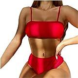 Conjunto de Bikini Mujer de Cintura Alta Traje De Baño De Tres Piezas Tops Braguitas Vestido De Volantes Correas de Espagueti Bañador Plisado Estampado Rayas Ropa De Playa Tallas Grandes
