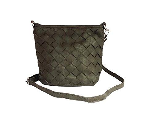 La Loria Handtasche Damen -LITTLE Weave- aus PU Leder in Dunkelgrau Umhängetasche Flechtoptik