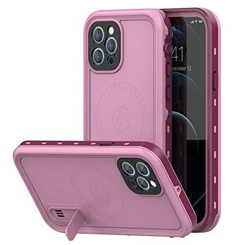Funda para iPhone 12 Pro MAX, IP68 Waterproof Outdoor Delgado Cover 360-Grados Protectora Antigolpes Anti-rasguños Impermeable Antichoque Funda para iPhone12/12 Mini/12 Pro,Pink,iPhone12