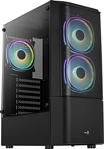 Aerocool QUANTUMMESHV3BK Negro, Caja PC ATX, Cristal Templado, 3x Ventilador RGB