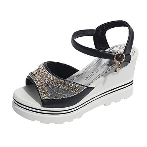 Sandalen Frauen Mode Sommer Pumps Plattform Keile Kristall Peep Toe Sandale (38,Schwarz)