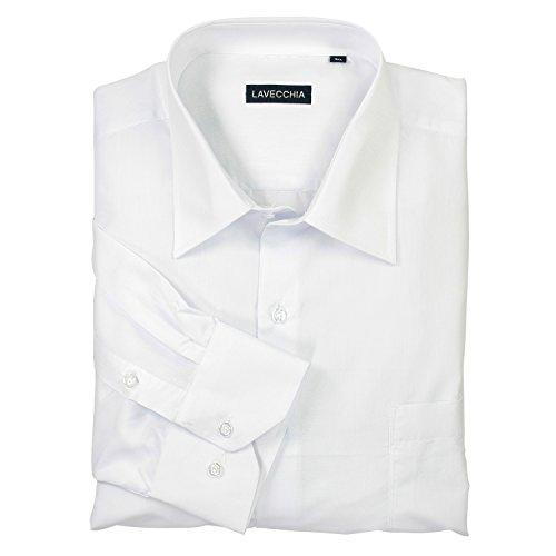 HLA1314-2 weißes klassisches Herren Übergrößen Hemd Lavecchia Gr. 3-7 XL, Weiß-uni, 5XL