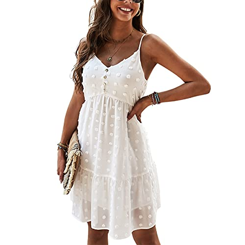 XYJD Spring and Summer Women's Casual Pullover V-Neck Solid Color Polka Dot Button Decoration High Waist Short Sling Dress Women White