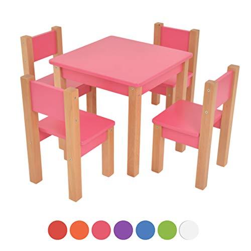 XXL Discount Kindertisch mit 4 stühle - 5 TLG. Set: Sitzgruppe für Kinder - aus Buche und MDF Holz - Tisch + Stühle/Kindermöbel für Jungen & Mädchen Kindersitzgruppe (Rosa, Kindertisch mit 4 stühle)