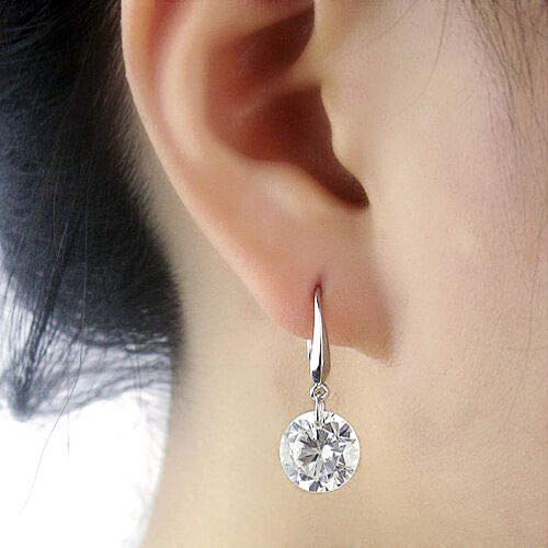 Bridal Women Lady White Gold Filled Sapphire Cz Ear Stud Hook Earrings Jewelry