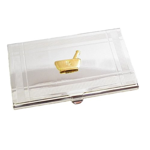 Silver Business Card Case with Gold Plated Pharmacy Emblem