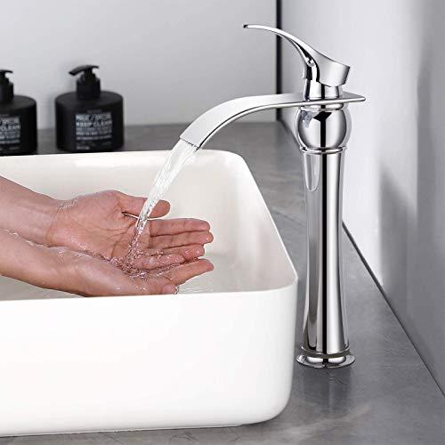 BONADE Wasserfall Wasserhahn Bad Einhebelmischer, Hochdruck Waschtischarmatur für Badezimmer, Waschbecken-Armatur ohne Zugstangen Ablaufgarnitur, Messing Chrom