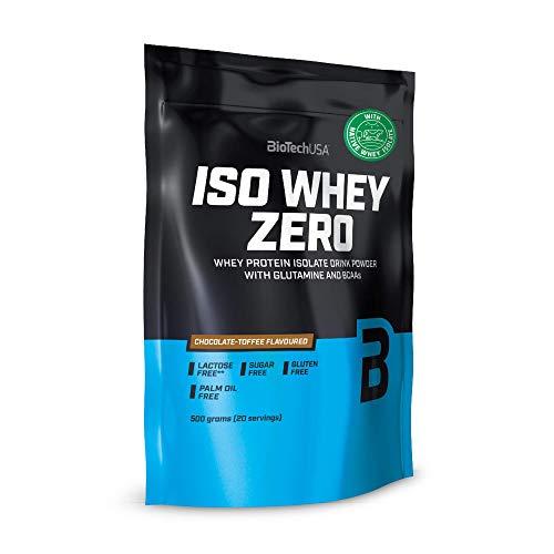 BioTechUSA Iso Whey Zero Premium Protein Isolat Pulver, Proteinpulver aus Native Whey Isolate mit L-Glutamin und BCAA angereichert, palmöl- und aspartamfrei, 500g, Schokolade-Toffee